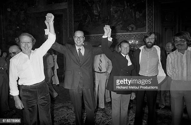 Paris Mayor Jacques Chirac receives the winners of the Transatlantic Doubles race LR Eugene Riguidel Eric Tabarly Marc Pajot and Gilles Gahinet were...