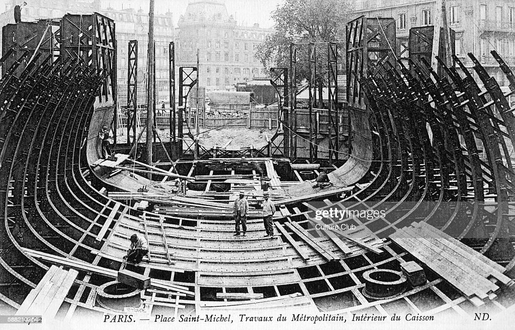 Paris Metro construction of caisson at Place Saint Michel