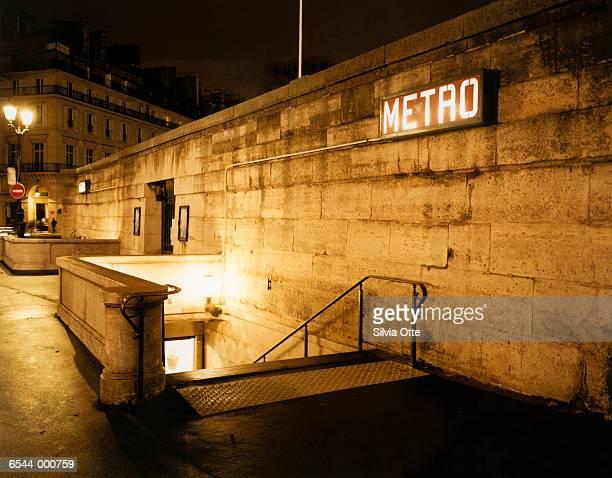 Paris Metro Entrance at Night