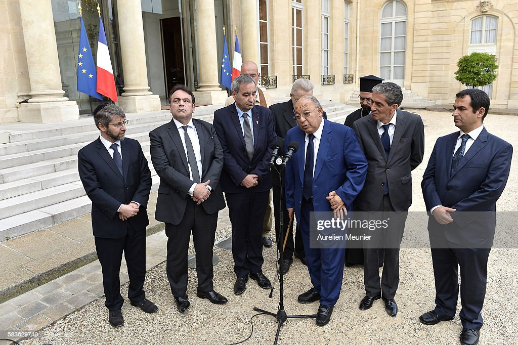 The President Francois Hollande Meets The Representatives Of Religions After The Terrorist Attack In Rouen