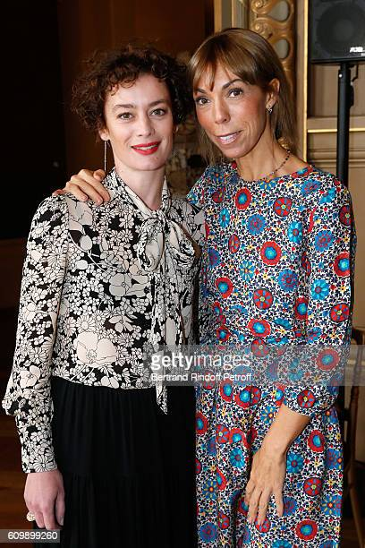 Paris National Opera dance director Aurelie Dupont and Mathilde Favier attend Cyril Karaoglan receives the Medal of Commander of Arts and Letters at...