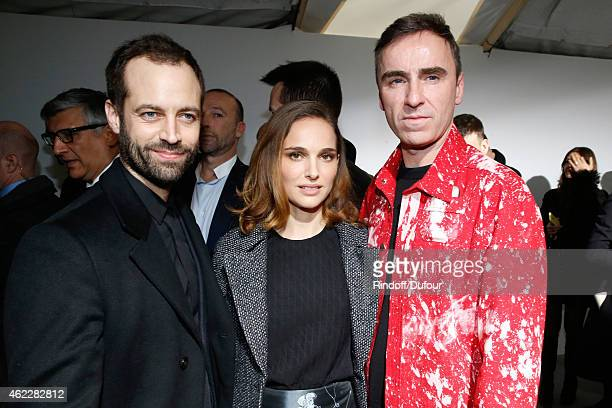 Paris National Opera dance director Benjamin Millepied his wife Actress Natalie Portman and Fashion Designer Raf Simons pose backstage after...