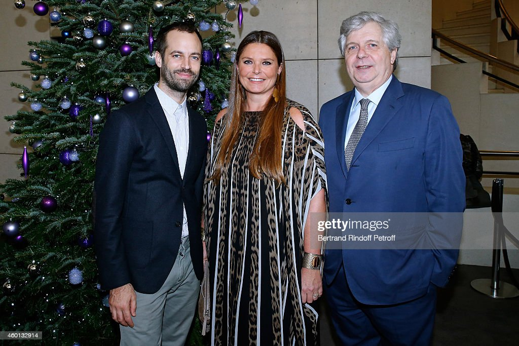 Paris National Opera dance director Benjamin Millepied, President of committee 'Reve d'enfants 2014' Karin Rudnicki-Schlumberger and Director of the National Opera Stephane Lissner attend the Matinee 'Reve d'enfants' with Opera 'Casse Noisette'. Organized by AROP at Opera Bastille on December 7, 2014 in Paris, France.