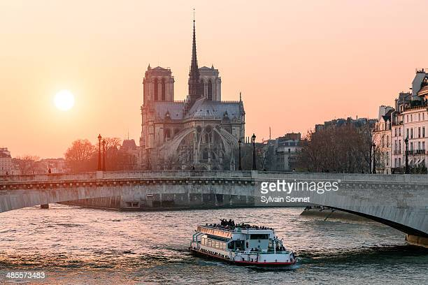 Paris, Notre Dame cathedral at Sunset