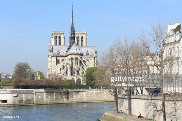 Paris, Notre-Dame and the Seine river on a sunny day. 27 March 2017