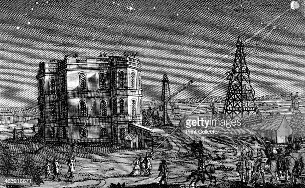 Paris Observatory France 1740 Astronomers using telescopes to observe objects in the night sky including Saturn and the Moon The Paris Observatory...