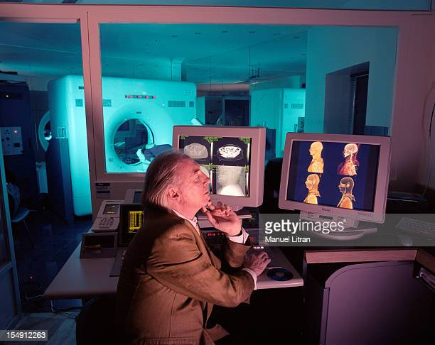 Paris October 9 Dr Rudolph Gombergh radiologiSt in his office It examines the cliches in 3D and 'volume rendering' of a patient
