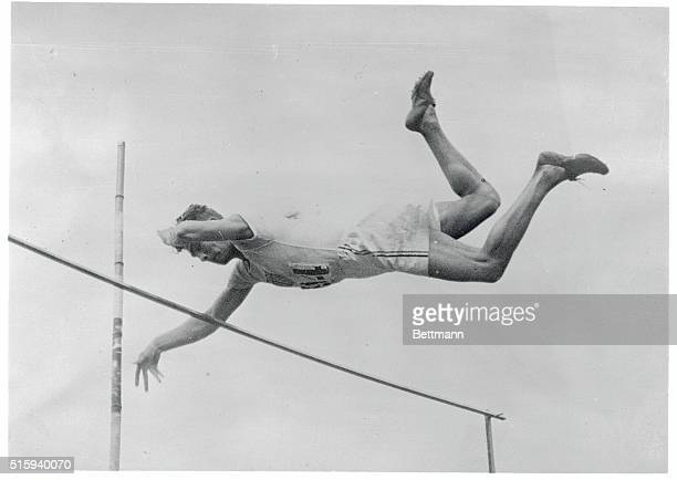 Olympic Athlete At Colombes Stadium Photo shows Lee Barnes the California high school boy making his winning leap of 12 feet 11 1/8 inches in the...