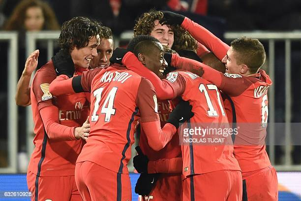 TOPSHOT Paris' players celebrate after scoring a goal during the French League Cup football match between Bordeaux and Paris SaintGermain on January...