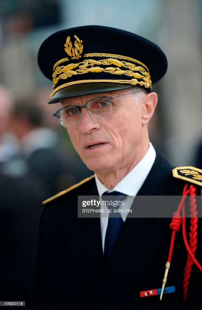 Paris police Prefect <a gi-track='captionPersonalityLinkClicked' href=/galleries/search?phrase=Bernard+Boucault&family=editorial&specificpeople=7772884 ng-click='$event.stopPropagation()'>Bernard Boucault</a> attends the inauguration of a new police station on April 21, 2015 at the Gare du Nord in Paris.