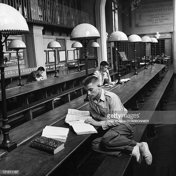 Paris Polytechnic School Students In The Library In The 1950'S
