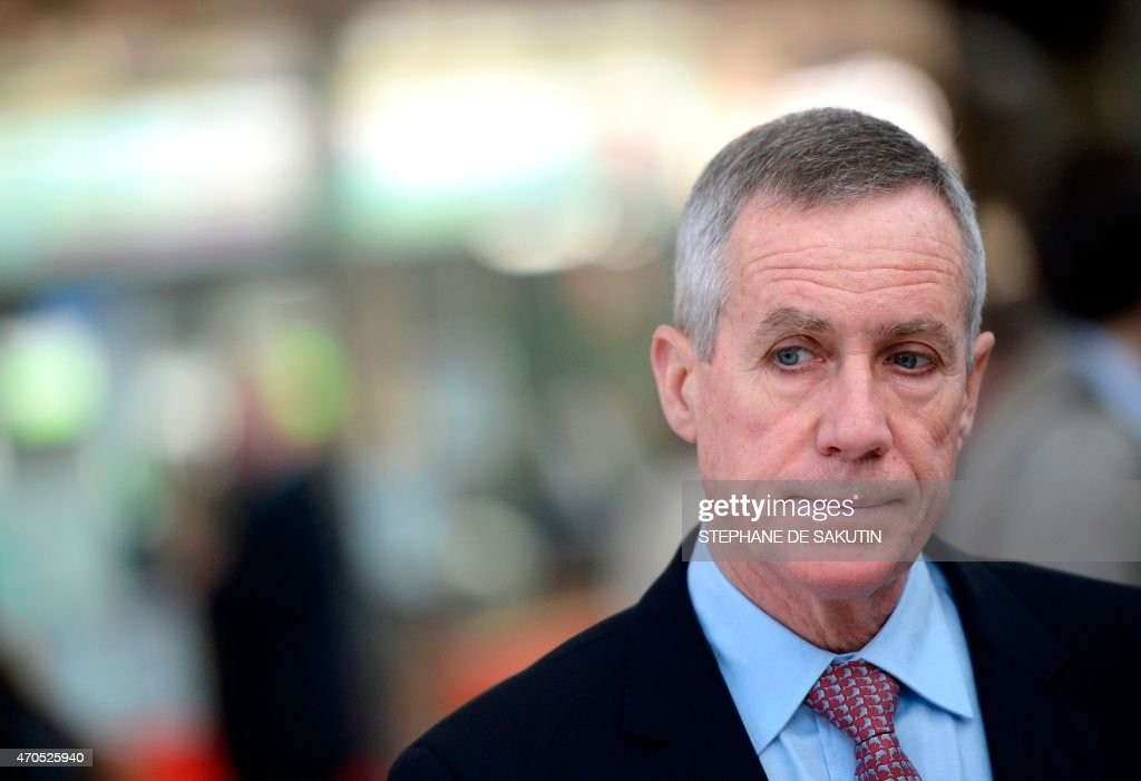 Paris prosecutor Francois Molins attends the inauguration ceremony of a new police station on April 21, 2015 at the Gare du Nord train station in Paris.
