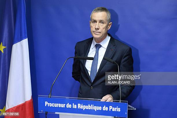Paris prosecutor Francois Molins prepares to deliver a statement on November 14 2015 in Paris a day after a series of coordinated attacks in and...