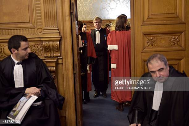Paris' prosecutors and lawyers are seen during the traditional ceremony of the 'Rentrée' of the Bar on January 19 2015 at the Palais de Justice in...