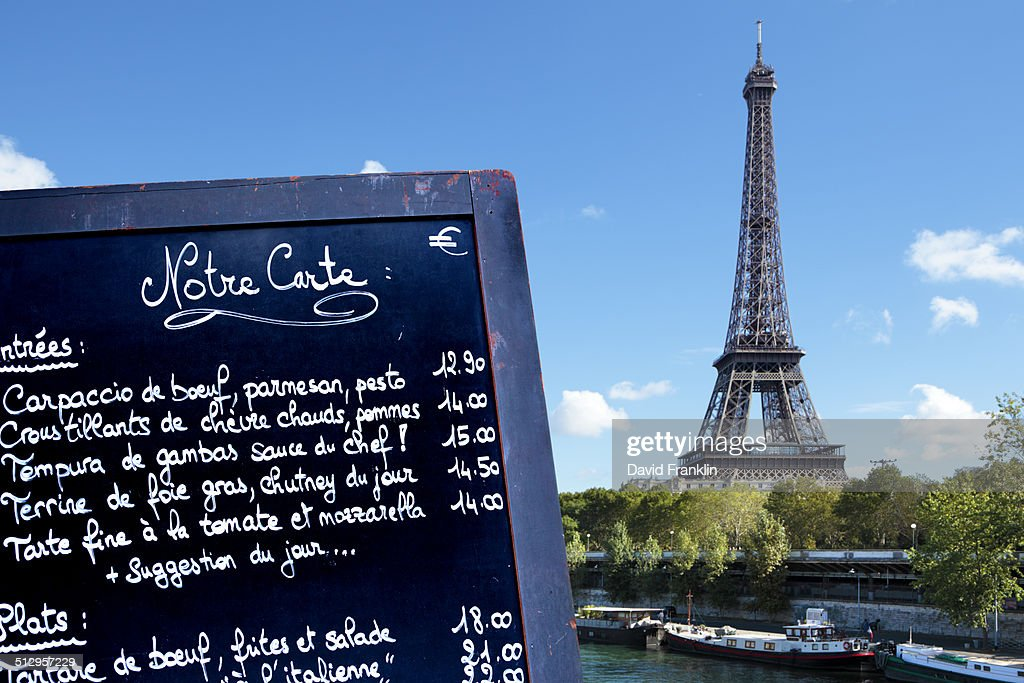 paris restaurant menu board with eiffel tower stock photo getty
