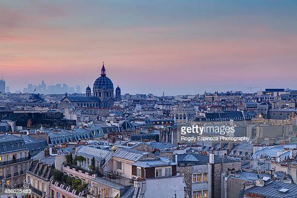 Paris rooftops during sunset