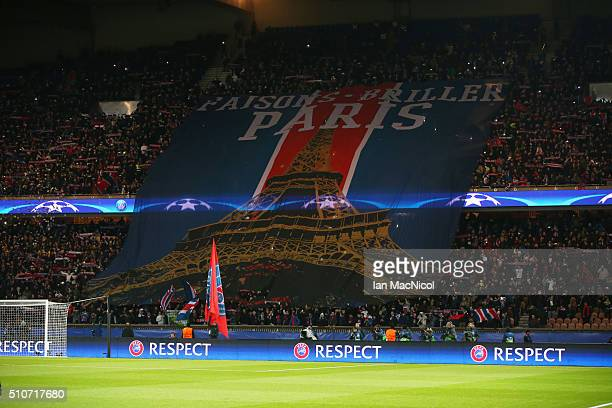 Paris Saint Germain fans display a huge banner during the UEFA Champions League Round of 16 First Leg match between Paris SaintGermain and Chelsea at...