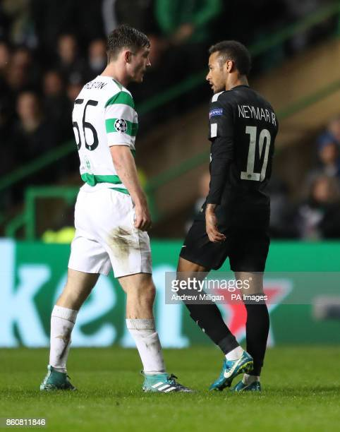 Paris Saint Germain Neymar with Celtics Anthony Ralston during the UEFA Champions League Group B match at Celtic Park Glasgow