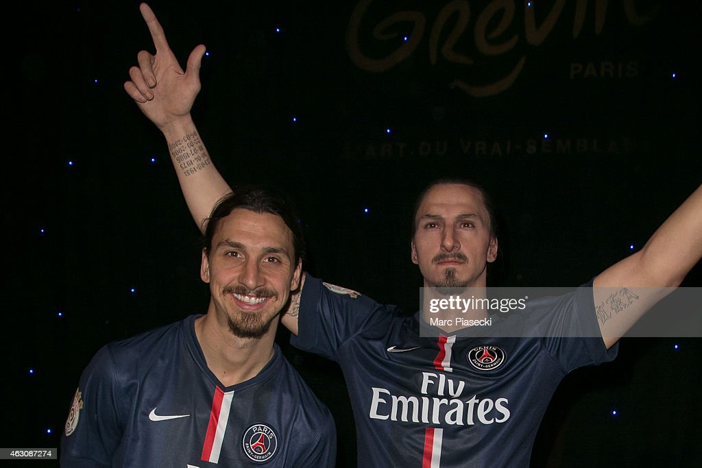 Paris Saint Germain player Zlatan Ibrahimovic unveils his waxwork at Musee Grevin on February 9, 2015 in Paris, France.