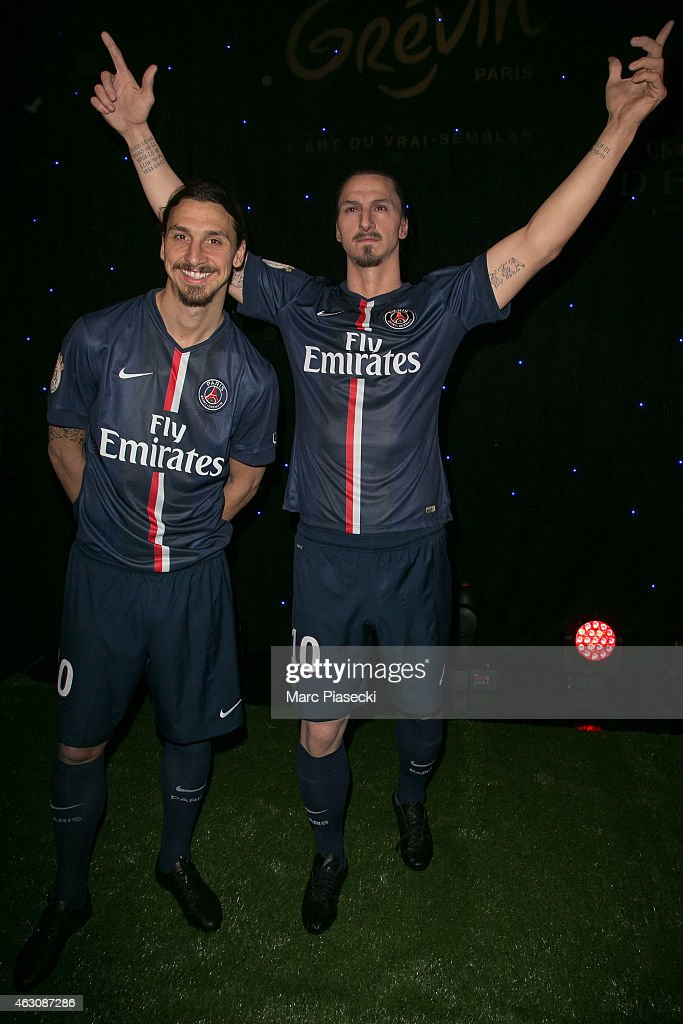 Paris Saint Germain player <a gi-track='captionPersonalityLinkClicked' href=/galleries/search?phrase=Zlatan+Ibrahimovic&family=editorial&specificpeople=206139 ng-click='$event.stopPropagation()'>Zlatan Ibrahimovic</a> unveils his waxwork at Musee Grevin on February 9, 2015 in Paris, France.