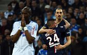 Paris Saint Germain Swedish forward Zlatan Ibrahimovic celebrates after scoring a goal during the French L1 football match between Marseille and...
