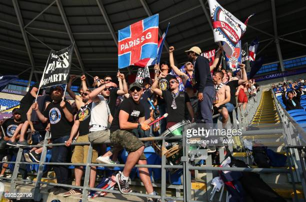 Paris Saint Germain Ultras fans during the UEFA Women's Champions League Final match between Lyon and Paris Saint Germain at Cardiff City Stadium on...