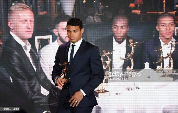 Paris Saint Germain's Brazilian defender Thiago Silva reacts during the 26th edition of the UNFP trophies ceremony at the Pavillon d'Armenonville in...