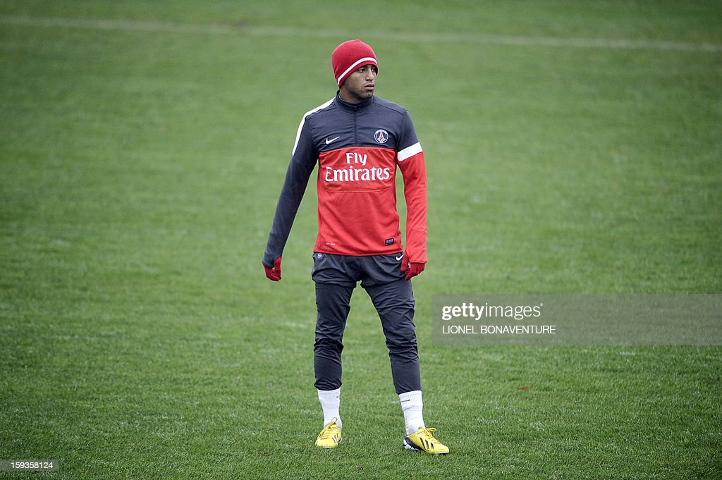 Paris Saint Germain's newly recruited Brazilian midfielder Lucas Moura takes part in a training session, on January 10, 2013 at the Camp des Loges, the PSG football club training center in Saint-Germain-en-Laye, west of Paris.