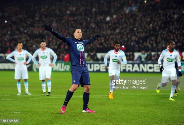 Paris Saint Germain's Zlatan Ibrahimovic celebrates scoring the second goal from the penalty spot during the Coupe de France match at Parc des...