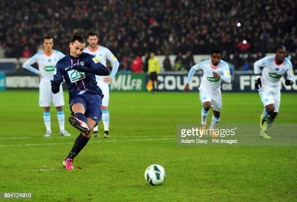 Paris Saint Germain's Zlatan Ibrahimovic scores the second goal from the penalty spot during the Coupe de France match at Parc des Princes Paris...