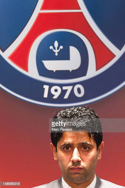 Paris SaintGermain chairman Nasser Al Khelaifi attends a press conference to welcome Marco Verratti at Parc des Princes on July 18 2012 in Paris...