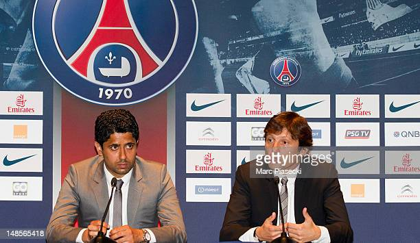Paris SaintGermain chairman Nasser AlKhelaifi and PSG's sporting director welcome Marco Verratti during the press conference at Parc des Princes on...
