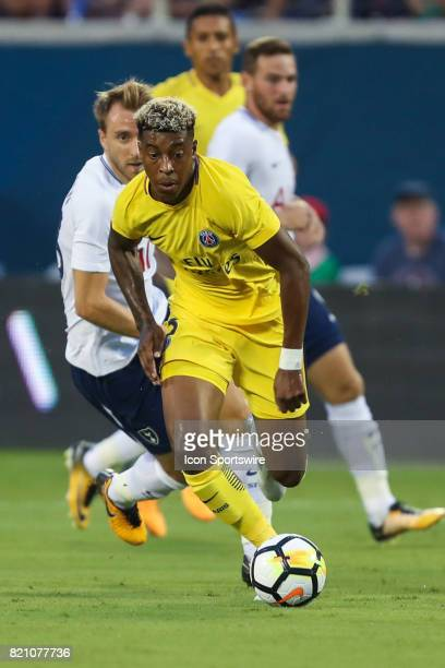 Paris SaintGermain defender Presnel Kimpembe chases down the ball during the International Champions Cup match between Tottenham Hotspur and Paris St...