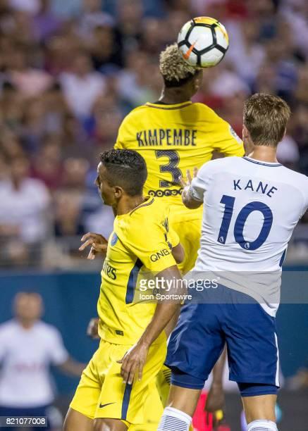 Paris SaintGermain defender Presnel Kimpembe heads the ball during the International Champions Cup match between Tottenham Hotspur and Paris St...