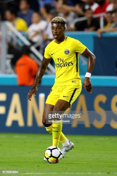 Paris SaintGermain defender Presnel Kimpembe in action during the first half of the International Champions Cup match against Juventus at Hard Rock...