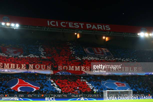 Paris SaintGermain fans show their support during the UEFA Champions League Round of 16 first leg match between Paris SaintGermain and FC Barcelona...