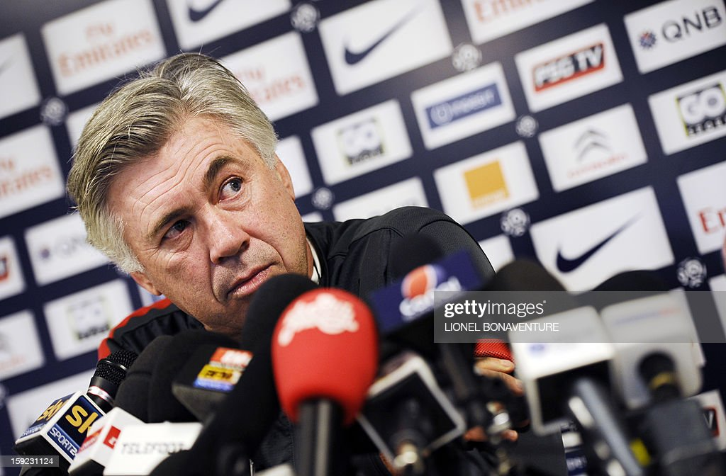 Paris Saint-Germain football club's coach Carlo Ancelotti speaks during a press conference after a training session at the Camp des Loges on January 10, 2013 in Saint-Germain-en-Laye, near Paris.