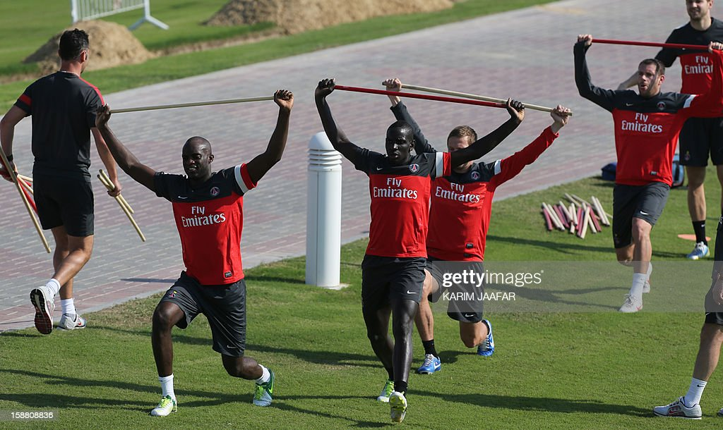 Paris Saint-Germain (PSG) football players take part a training session at the Aspire Academy of Sports Excellence in the Qatari capital Doha on December 30, 2012. PSG is in Qatar for a week-long training camp before the resumption of the French Ligue 1 after the winter break.