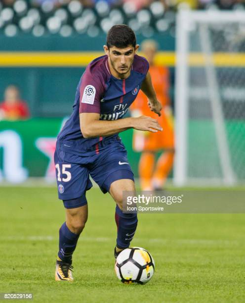 Paris SaintGermain forward Gonçalo Guedes runs with the ball during an International Champions Cup match between AS Roma and Paris SaintGermain on...