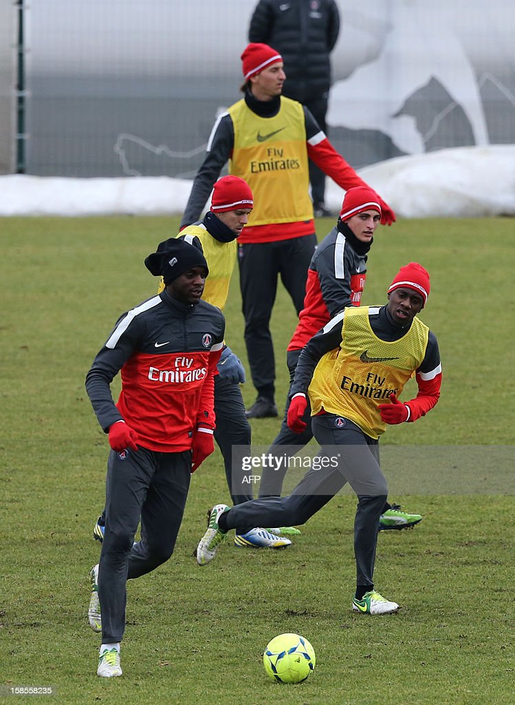 Paris Saint-Germain (PSG) French defender Mamadou Sakho, French midfielder Jeremy Menez, Swedish forward Zlatan Ibrahimovic, Italian midfielder Marco Verratti, and French midfielder Blaise Matuidi attend a training session at the team's training cam, Camp des Loges, in Saint Germain en Laye, outside Paris, on December 19, 2012.