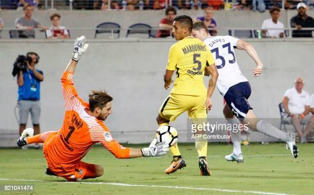 Paris SaintGermain goal keeper Kevin Trapp blocks a shot by Ben Davies of Tottenham Hotspur during their international friendly match on July 22 2017...