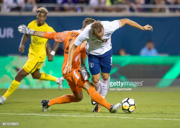Paris SaintGermain goalkeeper Kevin Trapp gets a red card and is ejected from the game during the International Champions Cup match between Tottenham...