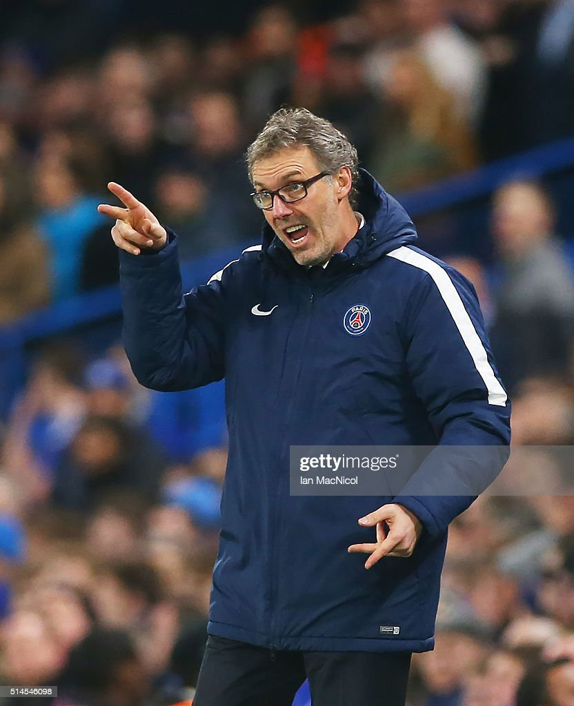 Paris Saint-Germain manager Laurent Blanc gestures during the UEFA Champions League Round of 16 Second Leg match between Chelsea and Paris Saint-Germain at Stamford Bridge on March 09, 2016 in London, England.