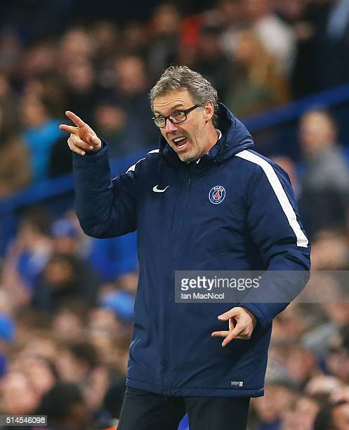 Paris SaintGermain manager Laurent Blanc gestures during the UEFA Champions League Round of 16 Second Leg match between Chelsea and Paris...