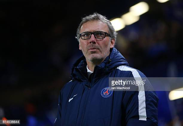 Paris SaintGermain manager Laurent Blanc looks on during the UEFA Champions League Round of 16 Second Leg match between Chelsea and Paris...