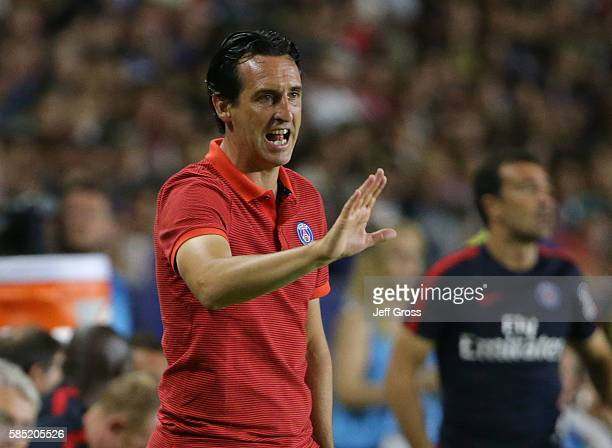 Paris SaintGermain manager Unai Emery communicates with his team against Leicester City during the 2016 International Champions Cup at StubHub Center...