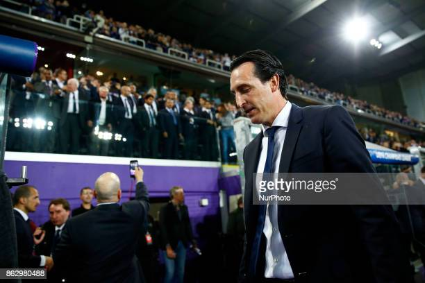 Paris SaintGermain manager Unai Emery during the UEFA Champions League Group B football match between RSC Anderlecht and Paris SaintGermain at the...