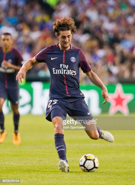 Paris SaintGermain midfielder Adrien Rabiot kicks the ball during an International Champions Cup match between AS Roma and Paris SaintGermain on July...