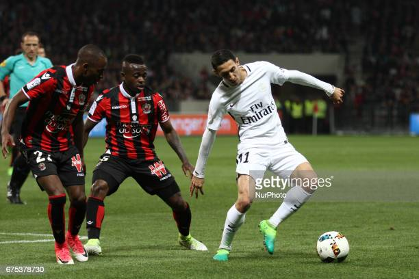 Paris SaintGermain midfielder Angel Di Maria in action during the Ligue 1 football match n35 OGC NICE PARIS SG on at the Allianz Riviera in Nice...