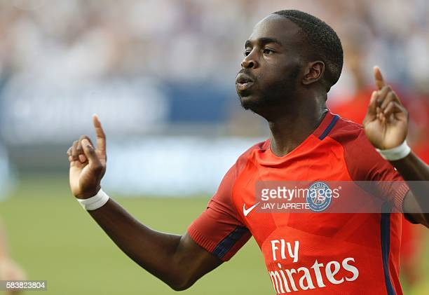 Paris SaintGermain midfielder Jonathan Ikone celebrates his goal against Real Madrid during an International Champions Cup soccer match in Columbus...